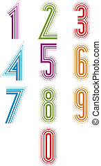 Echo lined numbers vector set - Echo lined numbers vector...