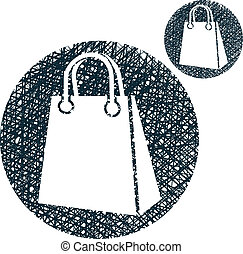 Shopping bag vector simple single color icon isolated on...