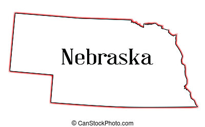 Nebraska - Outline of the US state of nebraska over a white...