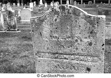 Graveyard in black and white - New England graveyard in...