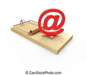 3d Mousetrap with email address symbol bait - 3d render of a...