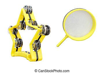 tambourine - The image of yellow tambourine isolated under...