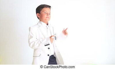 child dancing and pointing