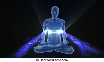 Yoga enlightenment with charges - Man silhouette in...