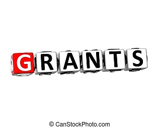 3D Word Grants on white background
