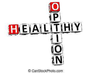 3D Crossword Healthy Option on white background