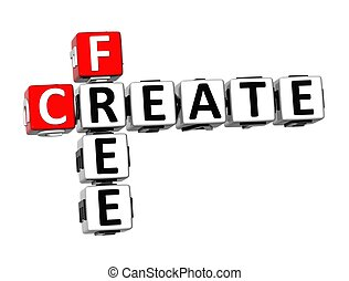 3D Crossword Create Free on white background