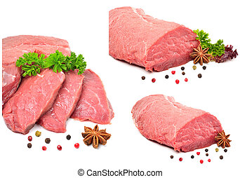 Raw beef, black pepper and anisetree isolated on white...