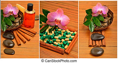 Orchid flower, pebbles in the coconut shell, soap, shower...