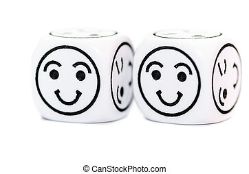two emoticon dice with happy expression sketch isolated on...