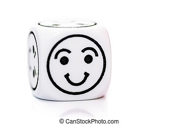 single emoticon dice with happy expression sketch isolated...