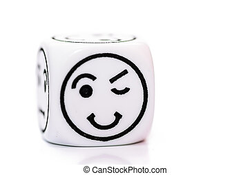 single emoticon dice with blinking expression sketch...