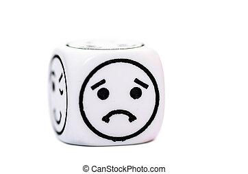 Emoticon, rys, jarzyna pokrajana w kostkę, smutny,...