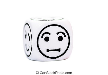 single emoticon dice with confused expression sketch...