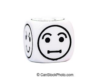 Emoticon, rys, jarzyna pokrajana w kostkę, zażenowany,...