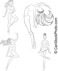 Contemporary dance with Line Art