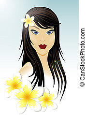Oriental girl and white flowers - Oriental girl with long...