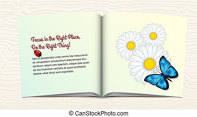 Open book with flowers and butterfly
