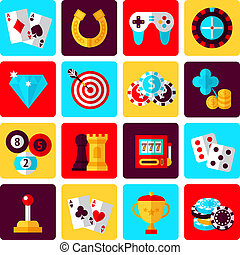 Game icons set - Casino smart and video games icons set with...