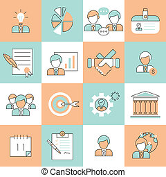 Business management icons flat line