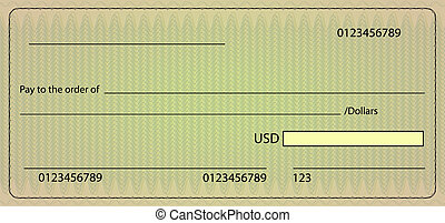 Bank check blank order. Vector stock illustration - Vector...