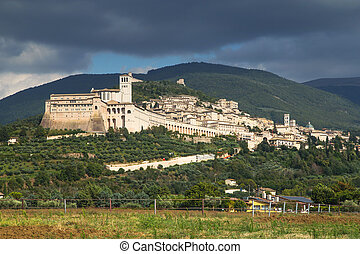 Assisi Umbria, Italy - General view of Assisi with The Papal...