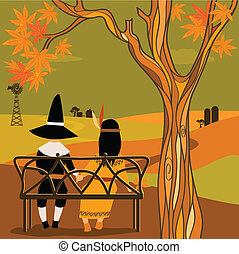 Kids in Thanksgiving costumes - Boy, dresses as Pilgrim and...