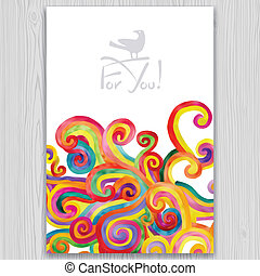 Watercolor invitation and greeting card with multicolored...