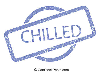 Chilled Stamp - A chilled rubber stamp in blue over a white...