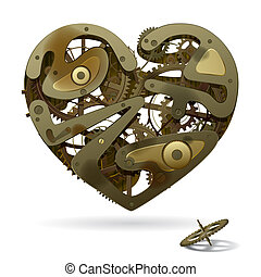 Clockwork Heart - Raster version of vector broken rusty...