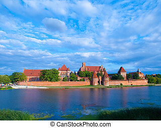 Malbork Castle view over Nogat river, Pomerania, Poland