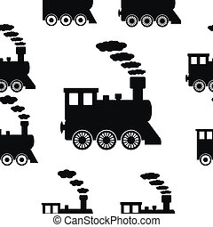 Locomotive seamless pattern on white. Vector illustration.