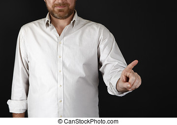 Man pointing at something