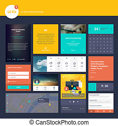 Flat design elements for website - Set of flat design...
