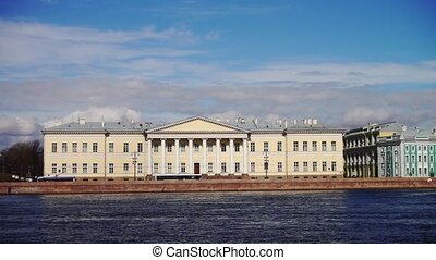 Historical buildings at Neva river embankment