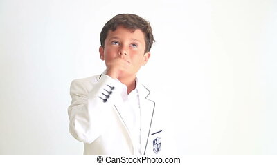 Little boy dancing and pointing