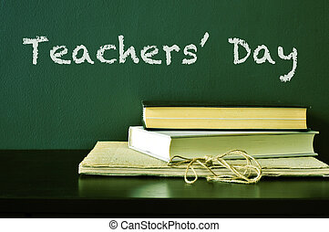 Teachers Day - the text Teachers Day written with chalk on a...