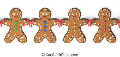 Gingerbread men - Very high resolution 3d rendering of four...