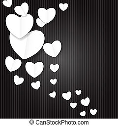 Valentines Day Paper Heart Backgroung, Vector Illustration...