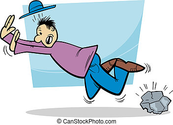 stumbling man cartoon illustration - Cartoon Illustration of...
