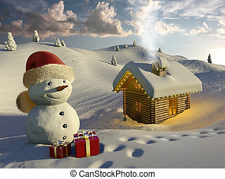 Log house in the snow at Christmas - Very high resolution 3d...