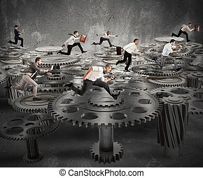 Business mechanism system - Business people running over a...