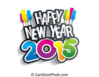 Happy New Year 2015 Greeting Card vector illustration