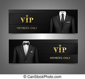 Businessman suit vip cards horizontal banners - Two...