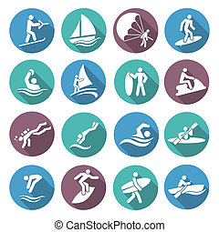 Water Sports Icons Set - Water sports white icons set with...
