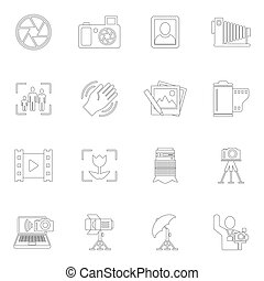 Photography icons outline - Photography equipment camera...