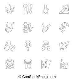 Drugs icons outline - Abuse addictive poison mushroom drugs...