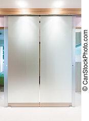 Glass door in modern apartment