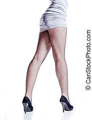 Legs in fishnet on high heels from back. Beautiful underwear...