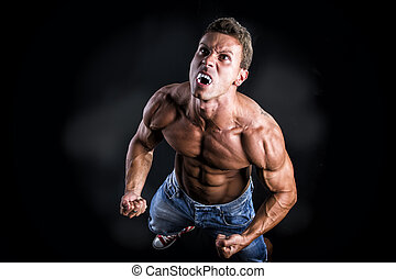 Shirtless Muscle Man with Pointed Teeth Howling - Shirtless...